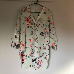 Lush mint floral blouse